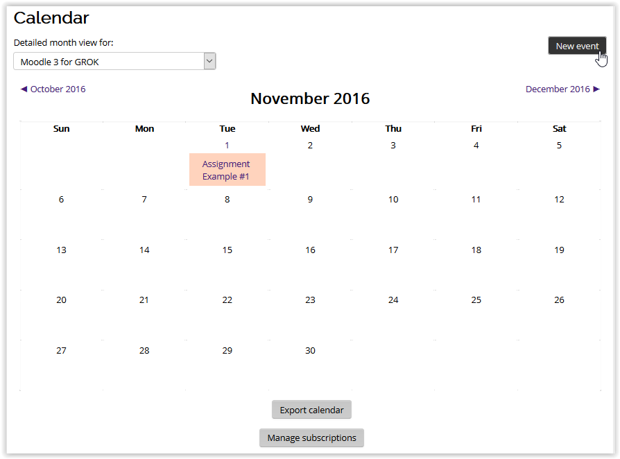 New event button in the calendar in moodle