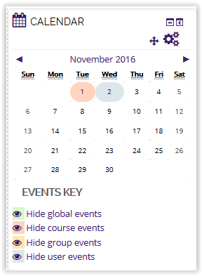 User event showing on calendar icon in moodle