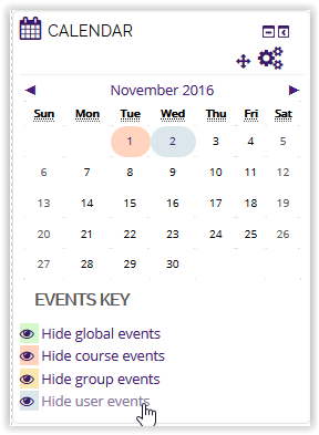 Hide user events button on calendar in moodle