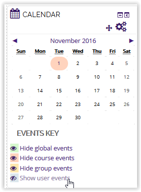 Show user events button on calendar in moodle