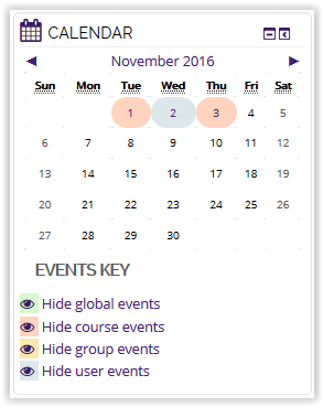 Course event visible on calendar block in moodle