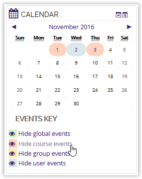Hide course events button in moodle