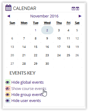 Show course events button on calendar in moodle