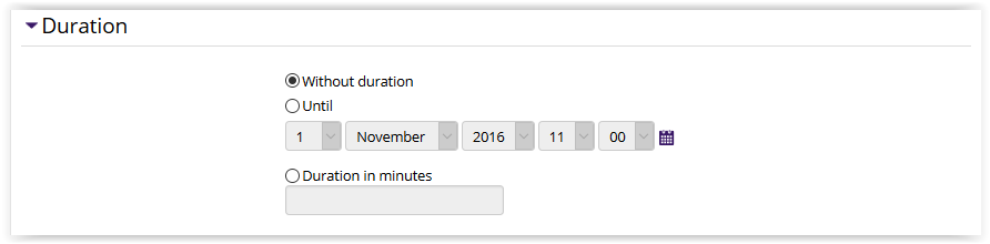 Calendar duration settings, showing date option or minute option