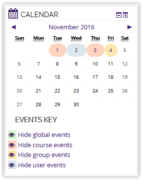 Group event shown on calendar icon in moodle