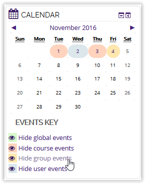 Hide group events button on calendar in moodle