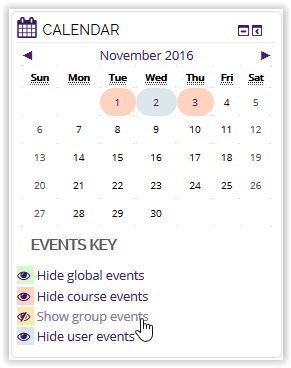 Show group events button on calendar in moodle