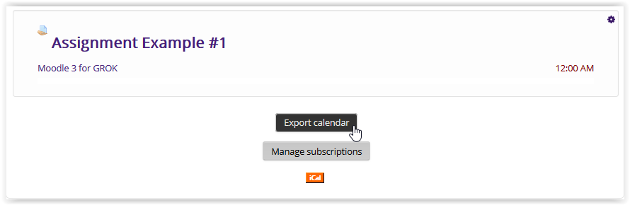 Export calendar button in moodle 3