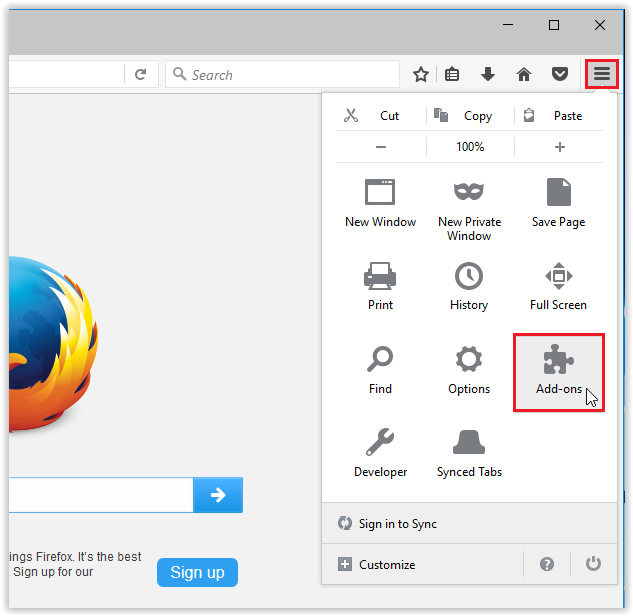 Add-ons option in the FireFox tools drop-down menu