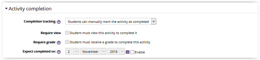 The Activity completion section in database settings