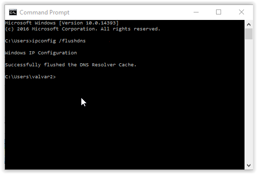 the command prompt window with IP config slash flush dns typed in.