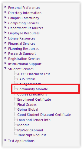 Community Moodle from under the Student Services drop down