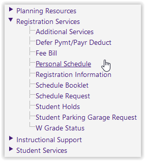 Personal Schedule under the Registration Services drop-down on myLSU