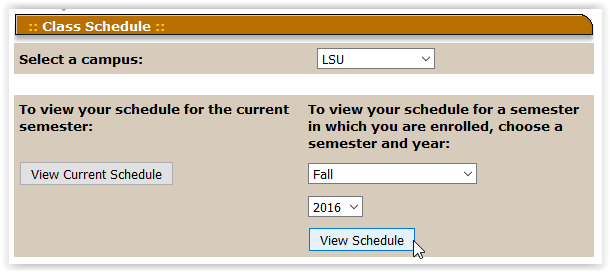Personal Schedule page in the myLSU portal