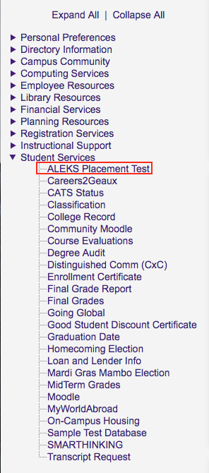 ALEKS Placement Test