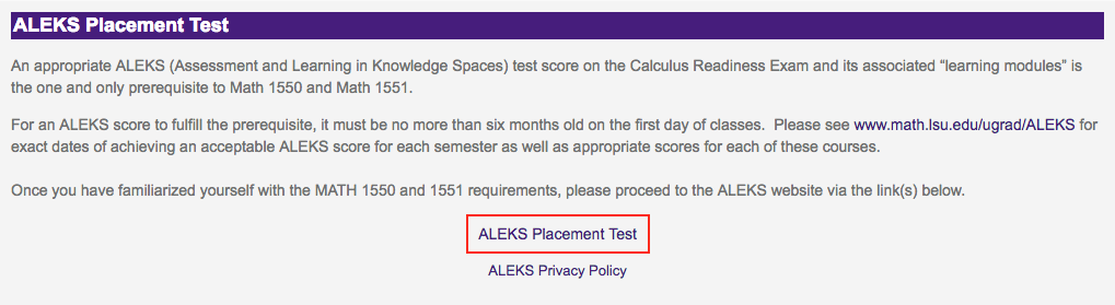 ALEKS Placement Test option