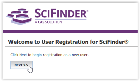 scifinder homescreen