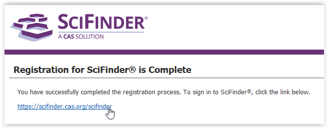 scifinder account confirmation complete screen