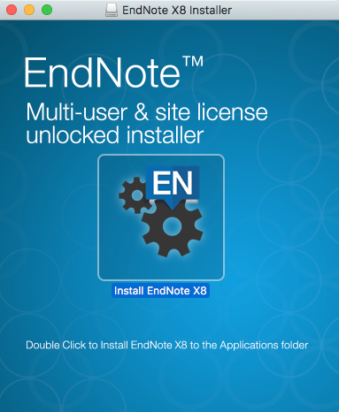 Endnote x8 installer window