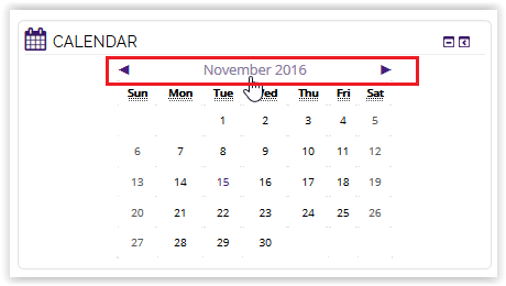 the month and year button in moodle calendar