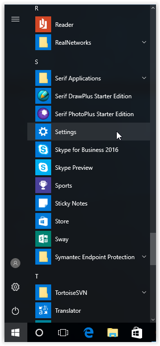 settings button in the start windows menu