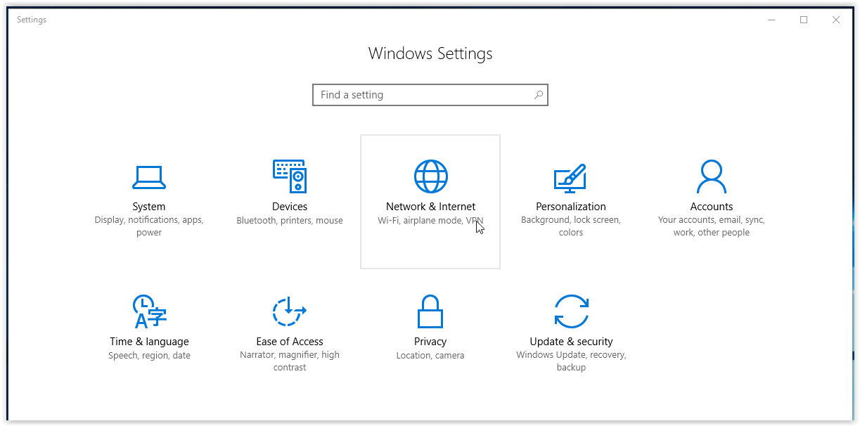 network & internet button in the settings window