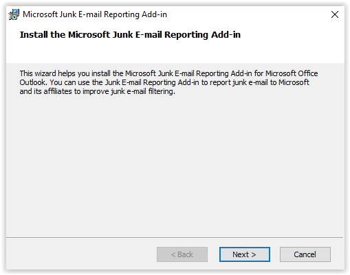 Report Junk Email window
