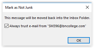 Always trust this email checkbox