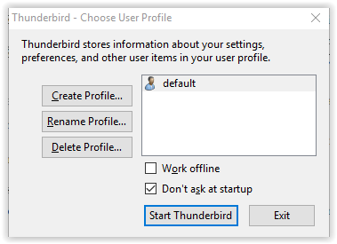 choose user profile dialog box - create profile command.