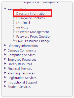 the directory information link under personal preferences