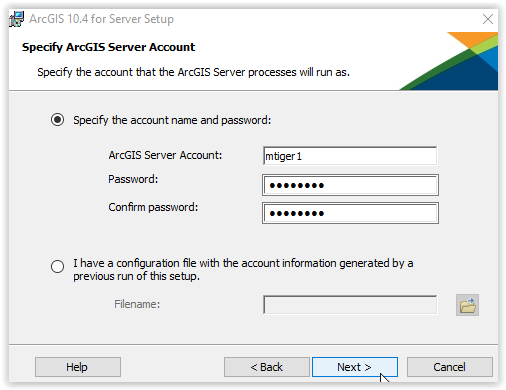 Account created example for ArcGIS server.