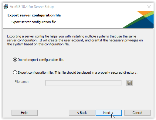 Do not export configuration file
