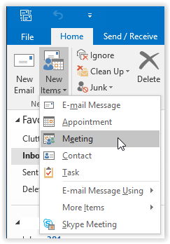 new meeting option in outlook