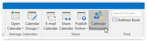 Calendar permissions button in outlook