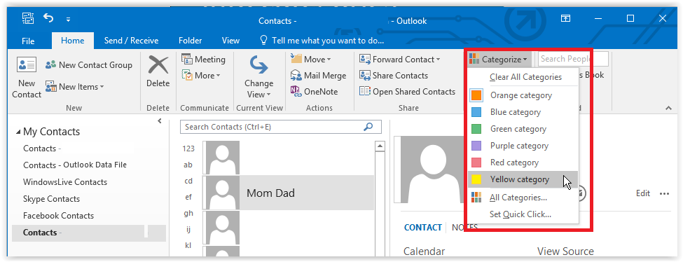 categorizing contacts in outlook