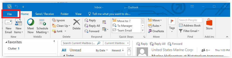 clicking the file menu in outlook