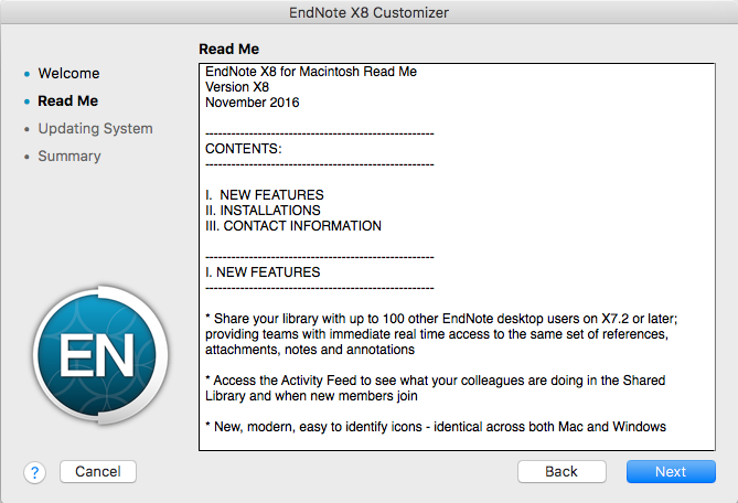 "Endnote X8 ""Read Me"" window"
