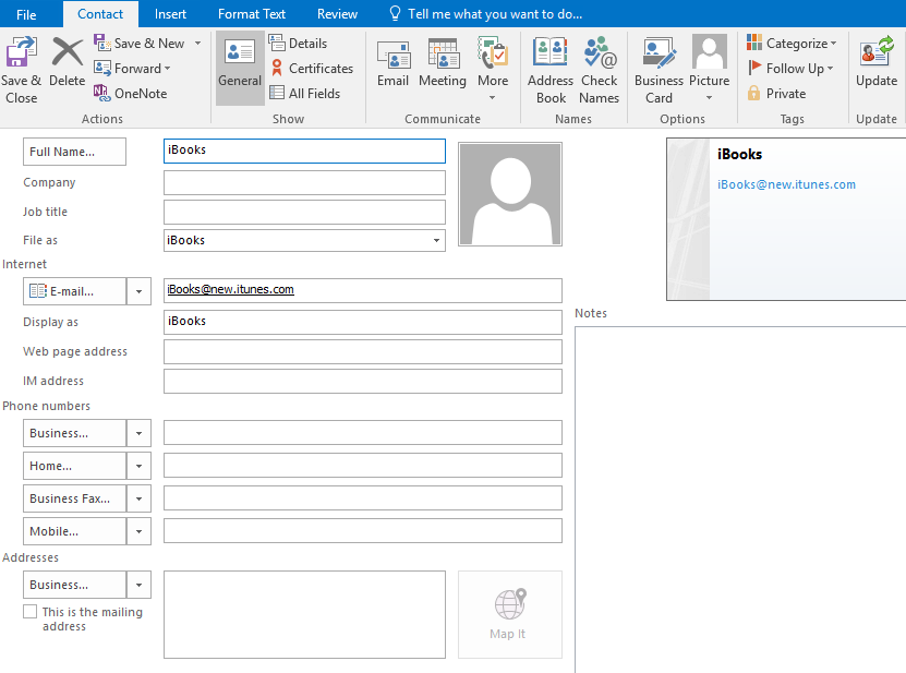 The edit contact window showing all contact information fields