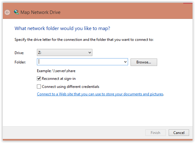 Map Network Drive Folder and Drive selection Menu