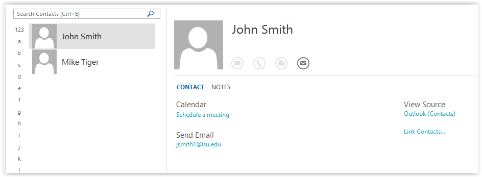business card view in outlook contact book