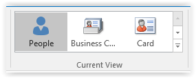 current view tab in outlook showing people, business card, or card view options