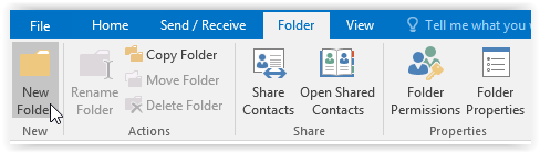 new folder button in outlook