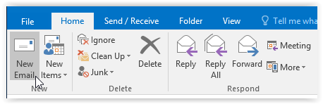 home tab/new email button in outlook