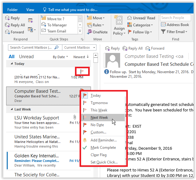 adding a flag to an email in outlook