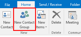 New Contact Group button at the top right