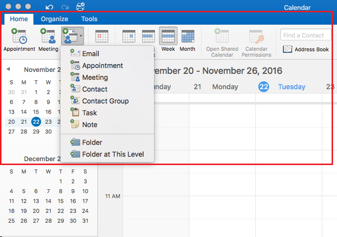Set up calendar options on the Home tab