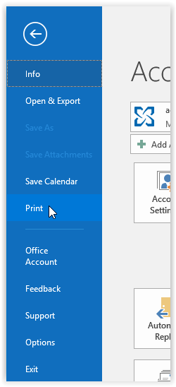 the print button in outlook 2016