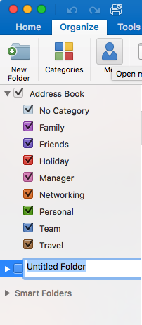 Creating a folder for the Address Book