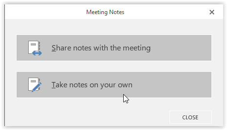Meeting notes options in the middle of the screen.