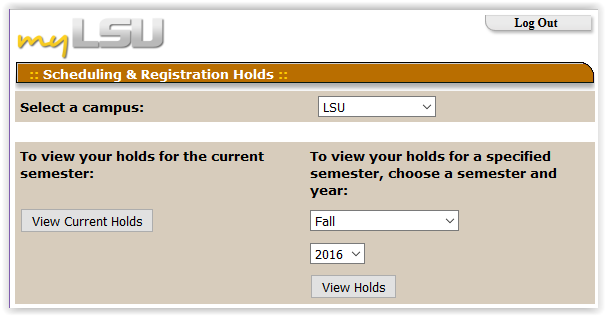 Scheduling and Registration Holds window in the myLSU portal